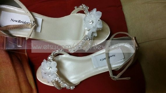 Bling Wedding Shoes Low Wedge 1 Heel Crystals Short Etsy